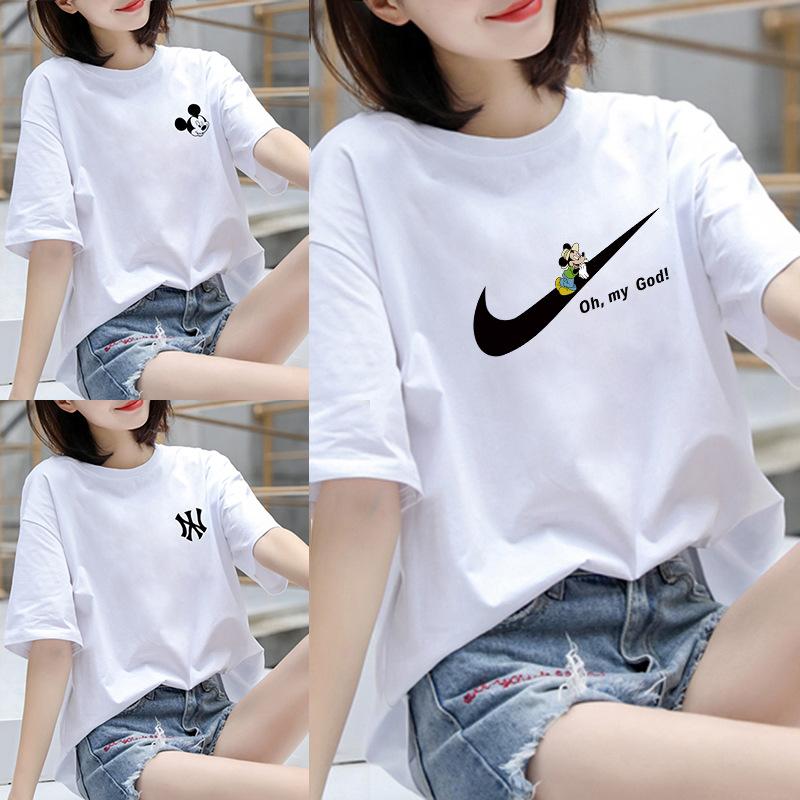 2021夏季新款纯棉米奇女装短袖纯白宽松t恤女式韩版甜美百搭上衣