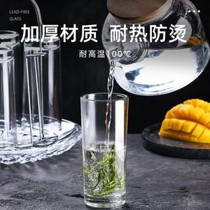 玻璃杯家用杯子水杯套装客厅啤酒杯家庭透明耐热客人喝水茶杯一套