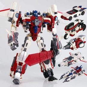 。威将 变形玩具金刚 白色五合体计算王战争摩托钻探机礼盒装模型