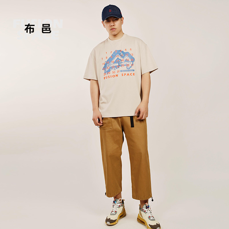 [national function] Buyi summer mens Short Sleeve T-Shirt NEW casual loose half sleeve pure cotton fashion brand pattern t