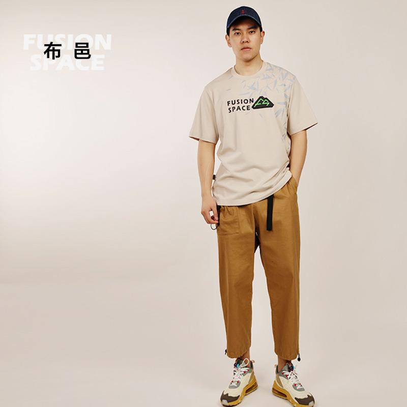 [Guochao function] Buyi mens T-shirt summer short sleeve loose cotton fashion printing pattern trend round neck T-shirt