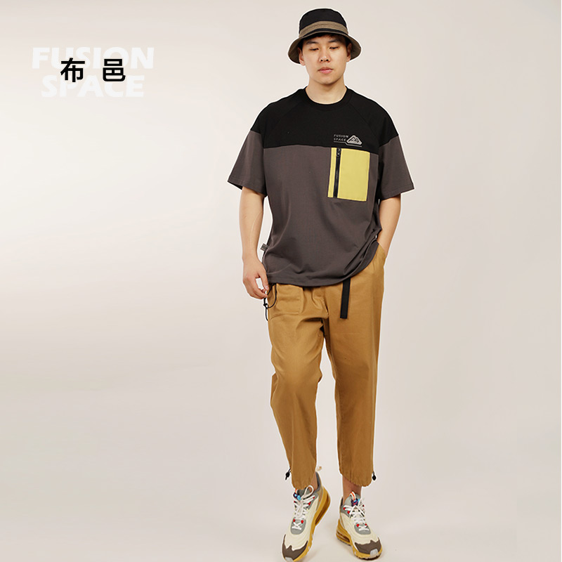 [Guochao function] Buyi new mens T-shirt short sleeve splicing color contrast pure cotton trend casual loose fashion round neck T-shirt