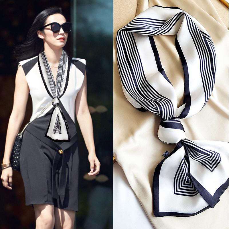 细窄长条小丝巾夏季脖子黑白条纹百搭装饰飘带杭州丝绸薄款领巾女
