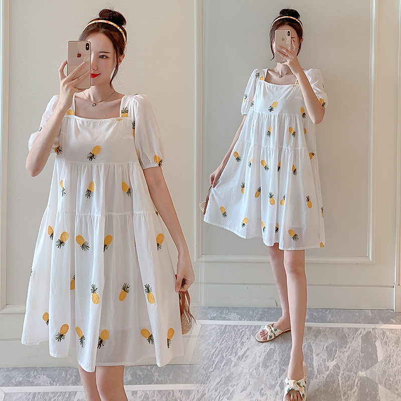 2020 new pregnant womens dress summer fashion mothers dress pure cotton one line collar maternity dress loose and thin