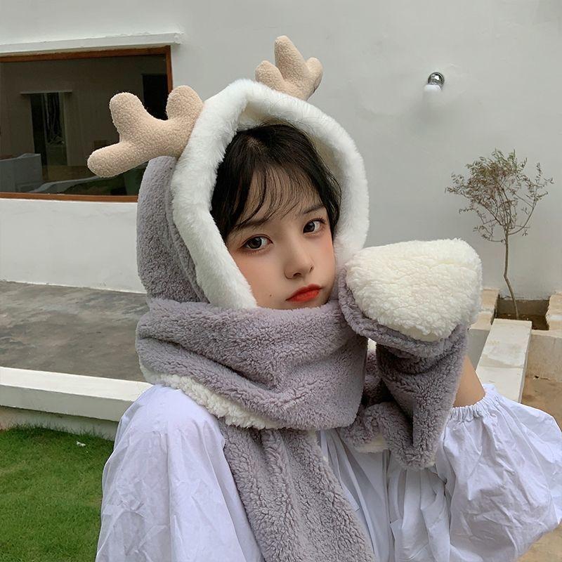 鹿角帽子韩版可爱女百搭秋冬季小熊围巾一体骑车保暖手套三件套潮