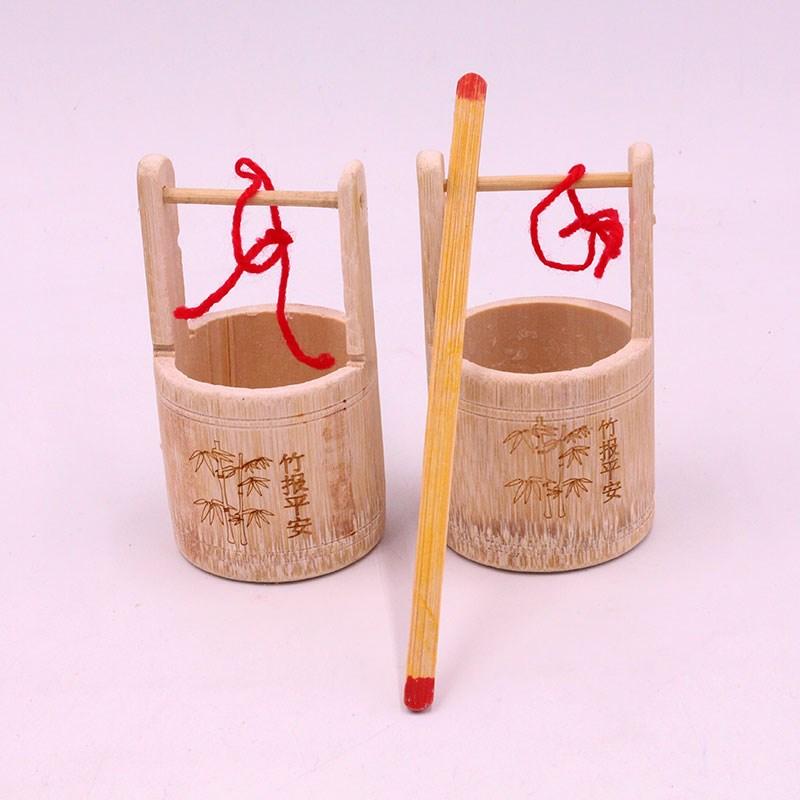 表演手工艺竹编幼儿园工艺品小幼儿园玩具特色竹制品水桶过家家特