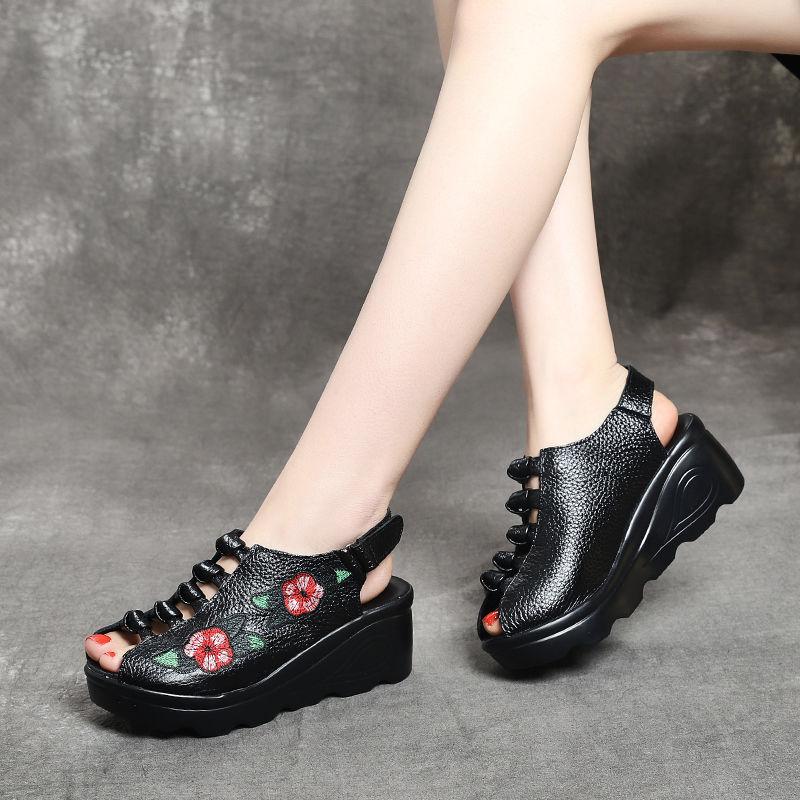 春夏民族风真皮女凉鞋鱼嘴手工复古绣花镂空高跟软底松糕坡跟女鞋