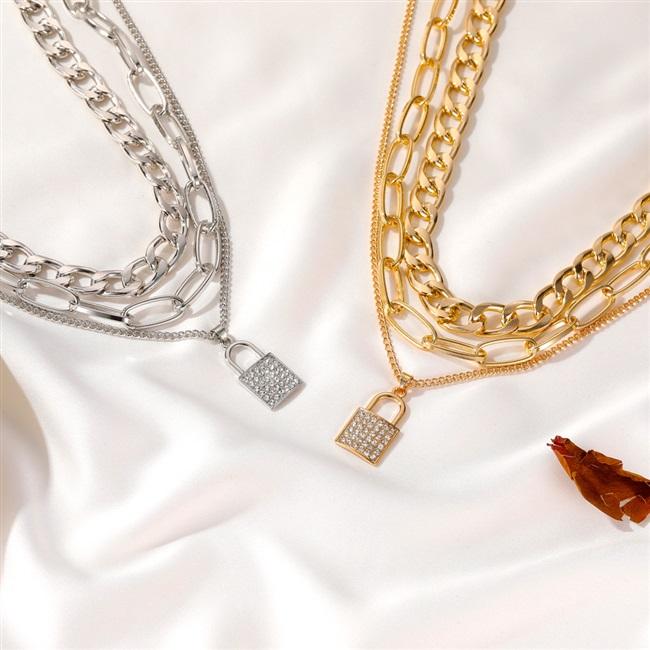 欧美跨境热卖粗链条锁形项链 朋克风气质微镶3层锁头吊坠多层项链