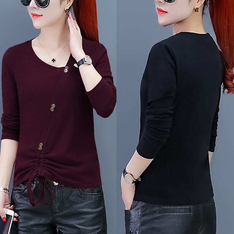 秋季针织衫女新款打底衫长袖女套头修身纯色薄款个性斜T黑色上衣