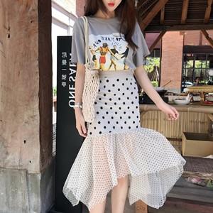 很仙的法国小众超仙不规则鱼尾裙半身裙赫本风高腰波点裙两件套夏