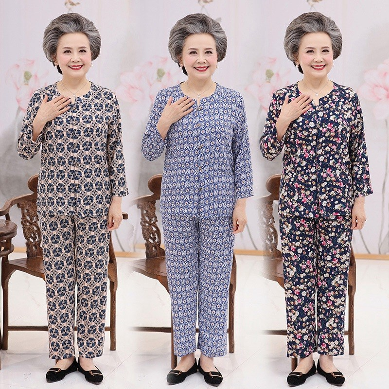 Middle aged pajamas womens pure cotton mother-in-law summer grandmothers cotton silk suit thin 70-80 years old mothers home clothes