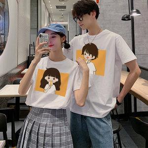 可可尼情侣装夏装2020年新款 韩版宽松短袖ins 超火港风纯棉T恤女