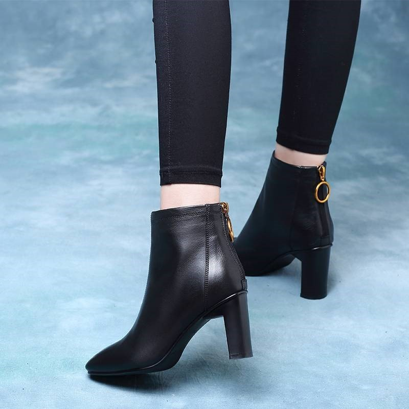 [温州品质]秋冬季新款高跟鞋女粗跟方头短靴欧洲短筒女棉靴马丁靴