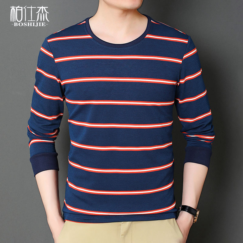 Autumn long sleeve t-shirt mens collarless Pullover casual color stripe simple round collar t-shirt mens shirt