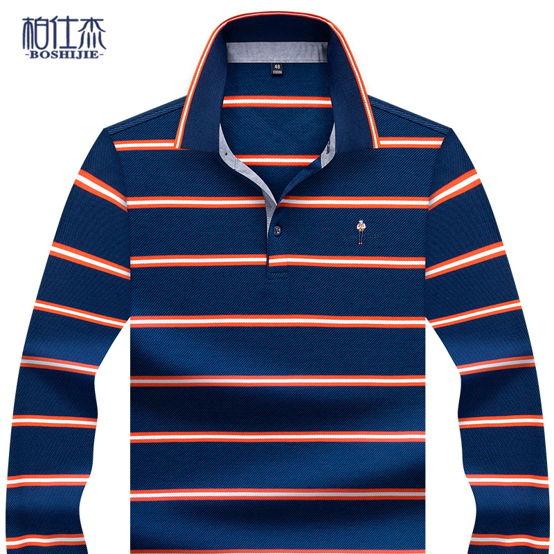 Mens autumn Lapel long sleeve T-shirt stripe embroidery business leisure middle age polo shirt mens loose top T-shirt