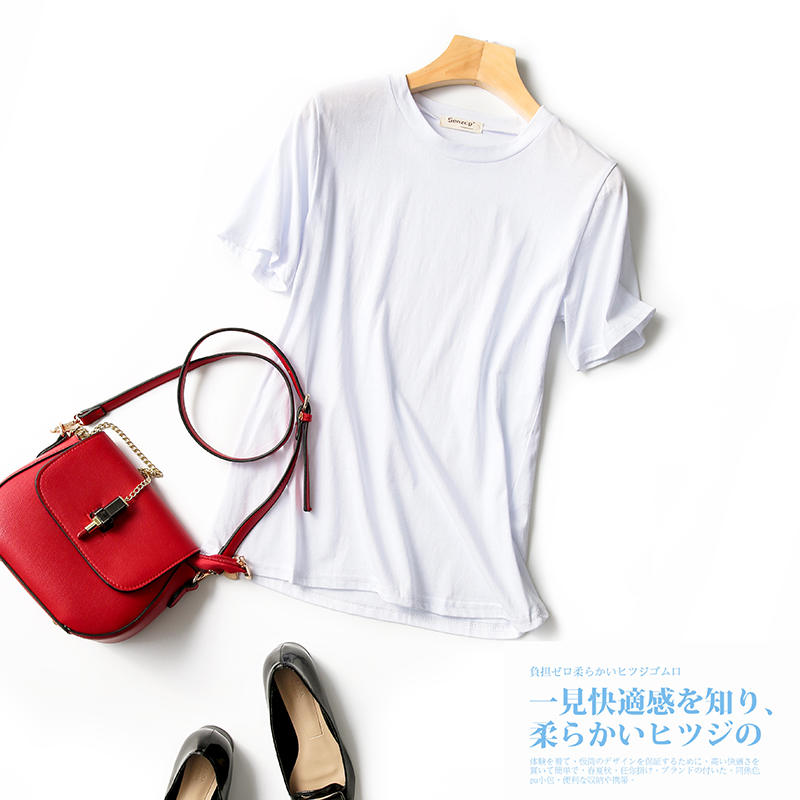 Simple and versatile solid color T-shirt women 2020 summer new literature and art cotton top round neck loose small fresh short sleeve women