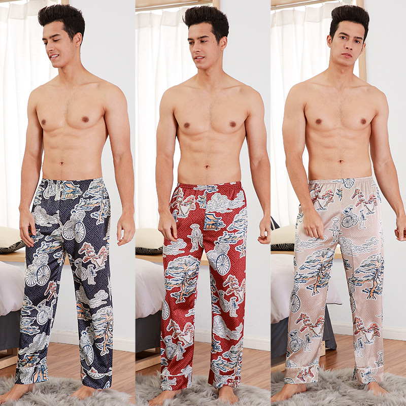 Pajamas mens spring and summer silk pajamas casual thin home clothes Jiangnan pine flower color can wear single pants trend