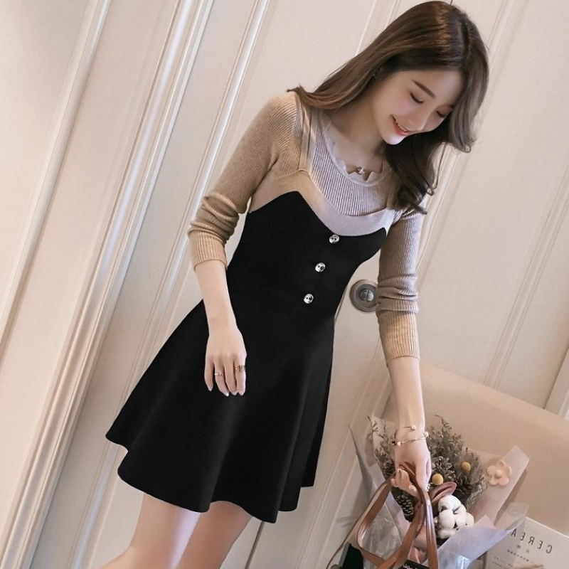 Autumn and winter new solid color lace round neck T-shirt color matching slim suspender skirt suit womens Knitted Dress
