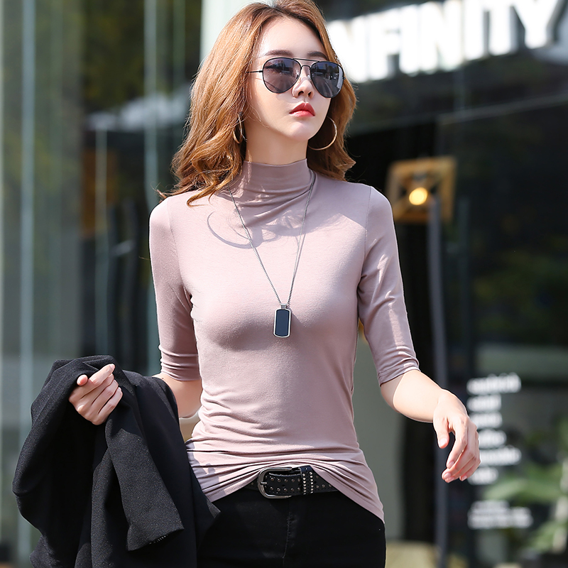 Modal base shirt womens half high collar long sleeve thin style with spring and autumn T-shirt loose large solid white style