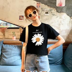 纯棉短袖t恤女夏2020年新款ins潮韩版宽松网红小雏菊女装学生白色