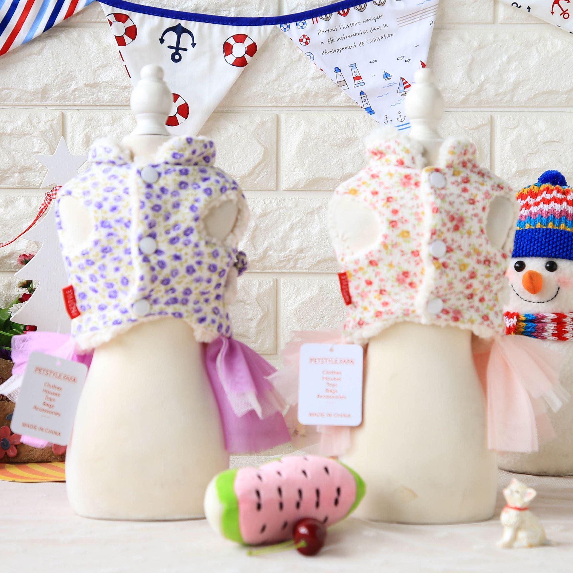 Pet new floral cotton padded jacket teddy bear pet dog dress with velvet yarn skirt Republic of China dress
