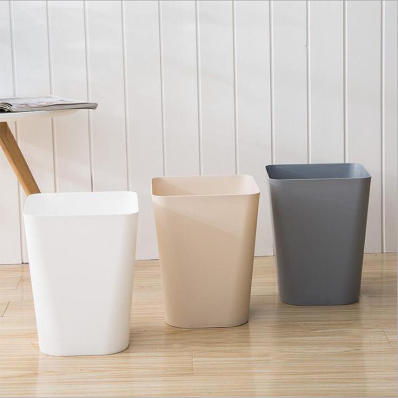 牧月简约垃圾桶方形大号塑料垃圾桶无盖圆型清洁桶办公室垃圾筐