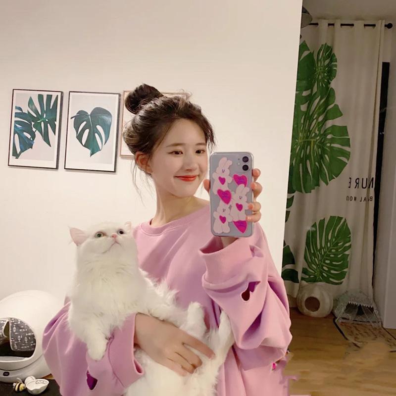 赵露思同款粉色爱心兔子适用iPhone12/11/pro/max手机壳苹果11/xr/x/xs/mini创意个性8Plus/7p/SE2可爱韩潮女