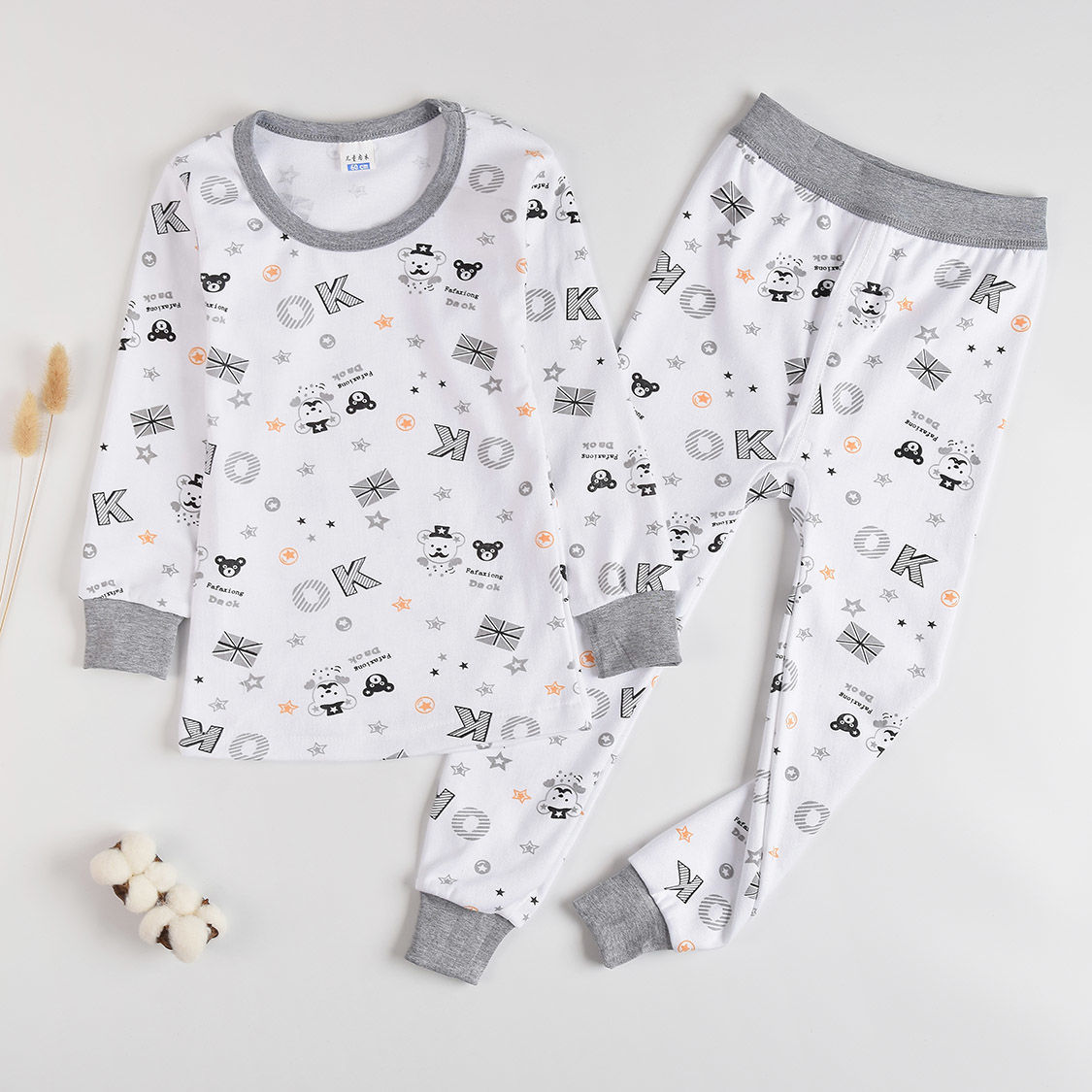3-17-year-old childrens underwear set pure cotton boys and girls autumn clothes and autumn trousers middle and big childrens high and low collar cotton sweater home clothes