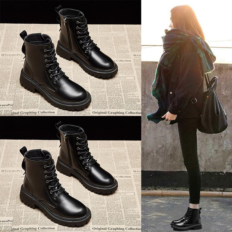ins英伦马丁靴女2020冬季新款加绒短靴女百搭学生保暖加厚瘦瘦靴