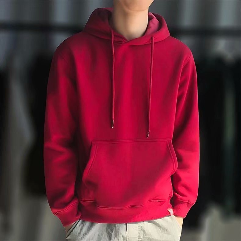 。 Mens long sleeve solid color sweater spring and autumn Korean autumn clothes student autumn round neck top trend Hoodie