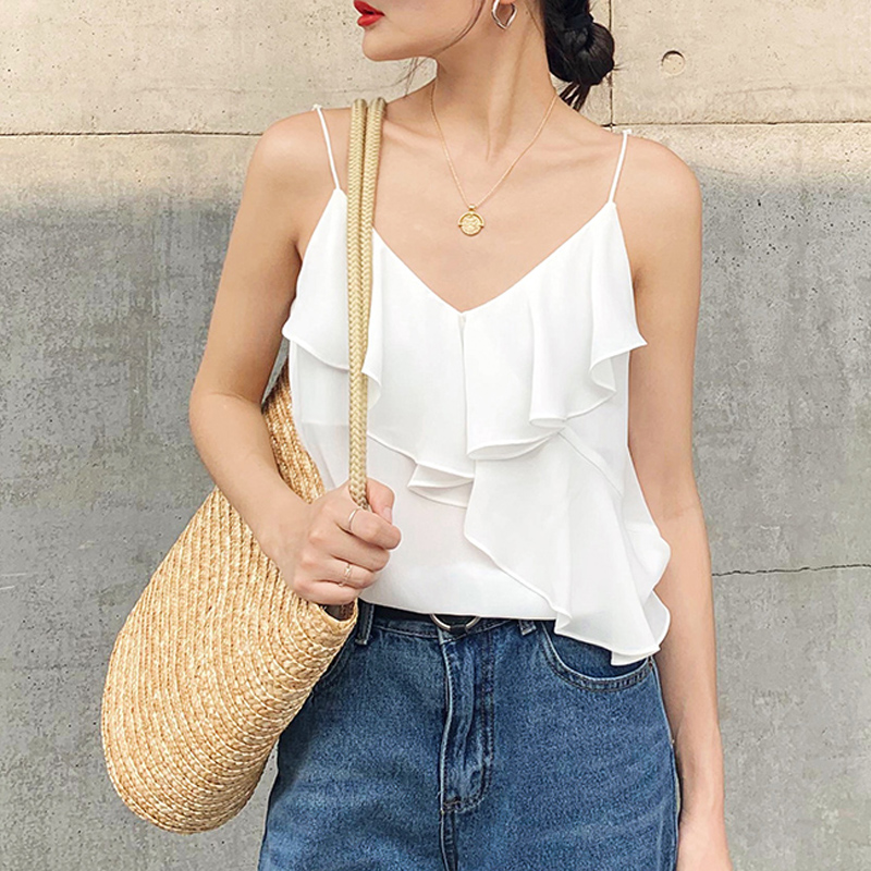 Chiffon V-neck suspender vest womens fashionable loose bottomed suit with net red sleeveless Ruffle Top