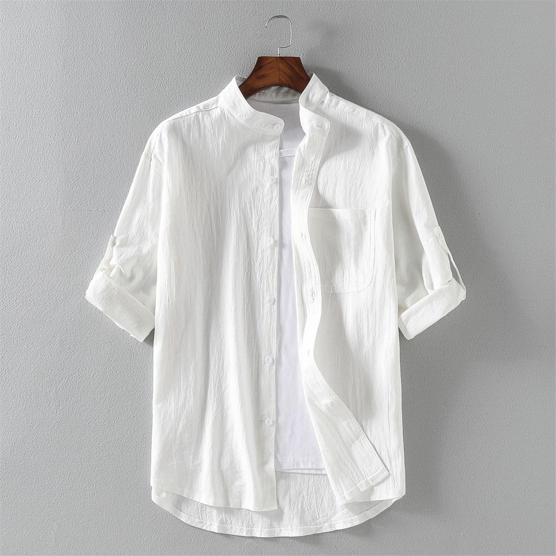 leech tommy男士亚麻短袖夏天衬衫