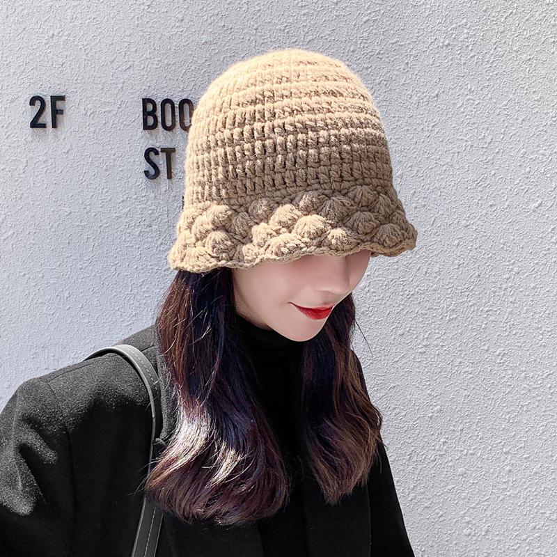 新品女秋冬手工针织花边毛线渔夫帽子韩版甜美可爱显脸小保暖盆帽