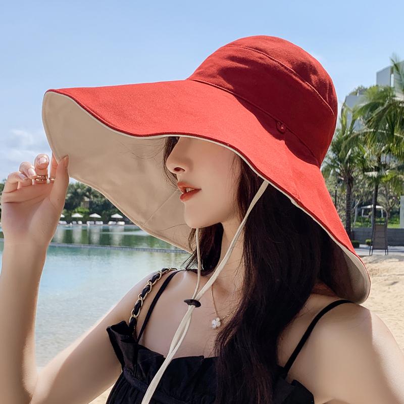 网红款渔夫帽女棉遮脸韩版防晒紫外线遮阳帽子大沿百搭大帽檐夏季