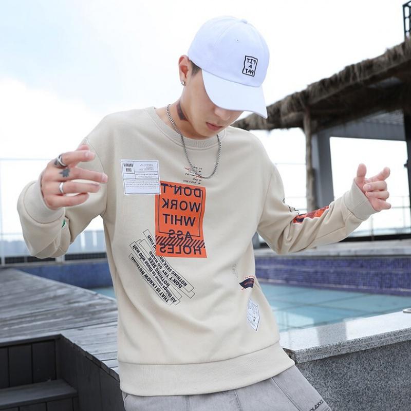 卫衣男2020秋季新款男士韩版宽松长袖T恤衫男式潮流大码套头T恤印