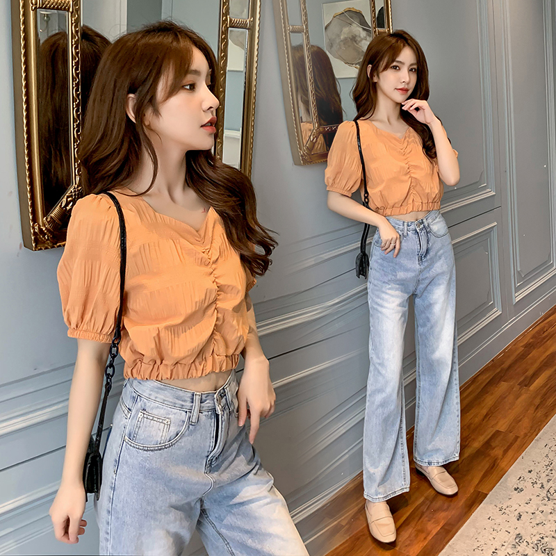 2020 new Korean pleated top French V-neck shirt womens short Lace Chiffon bubble sleeve versatile top