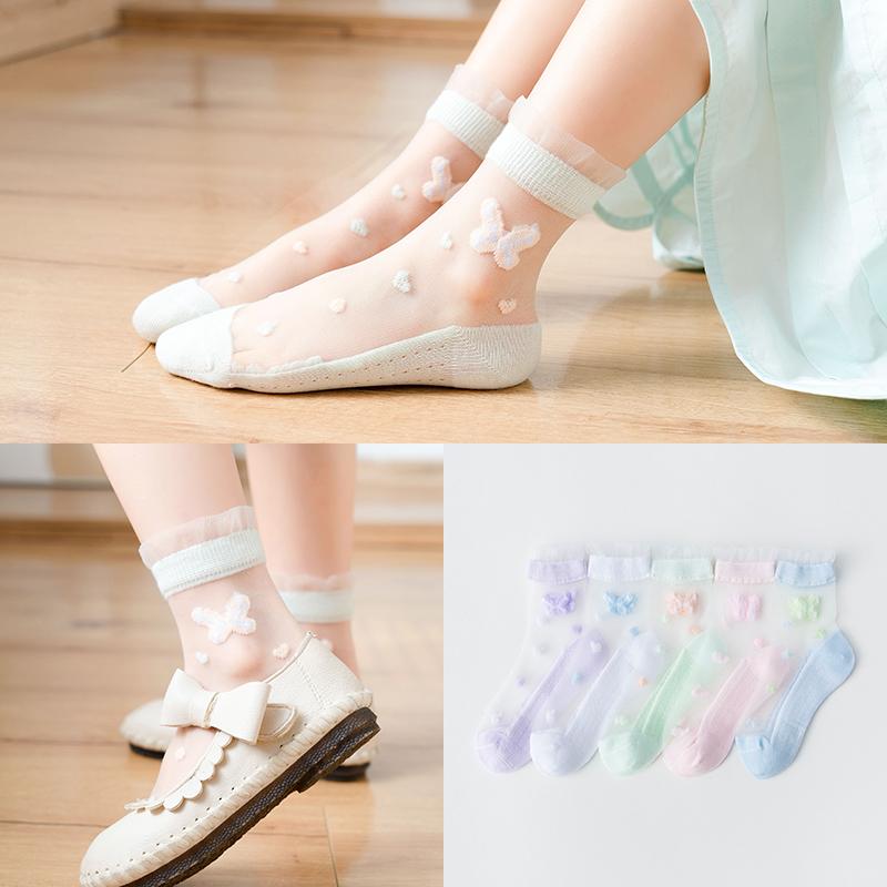 儿童袜子夏季薄款女童蝴蝶网纱水晶婴儿吸汗透气棉袜宝宝花边袜