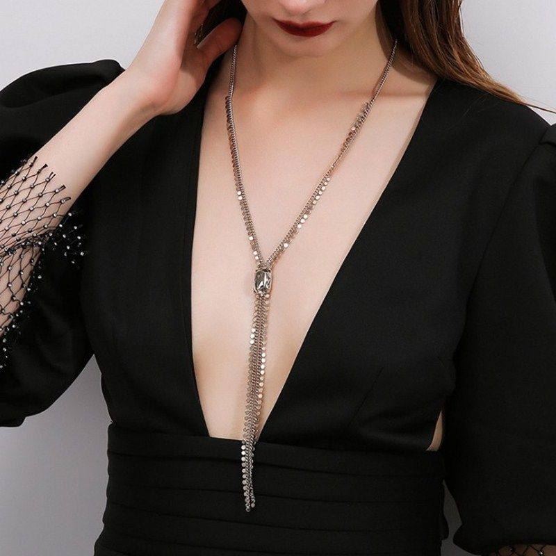 Sexy chest chain autumn and winter design sense French crystal 2020 new personalized Necklace womens long tassel sweater chain