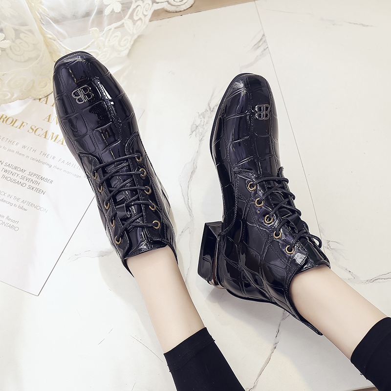 Fashion stone print Martin boots, British lace up fashion boots, square toe short boots, patent leather thick heel Knights boots