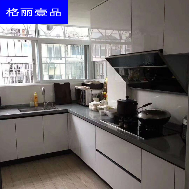 Shenzhen cabinet custom kitchen marble stove table crystal steel plate kitchen cabinet overall stainless steel cabinet quartz stone table top