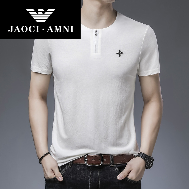 Counter genuine short sleeve t-shirt mens summer new round neck Half Sleeve Shirt Youth iron free zipper solid color T-shirt