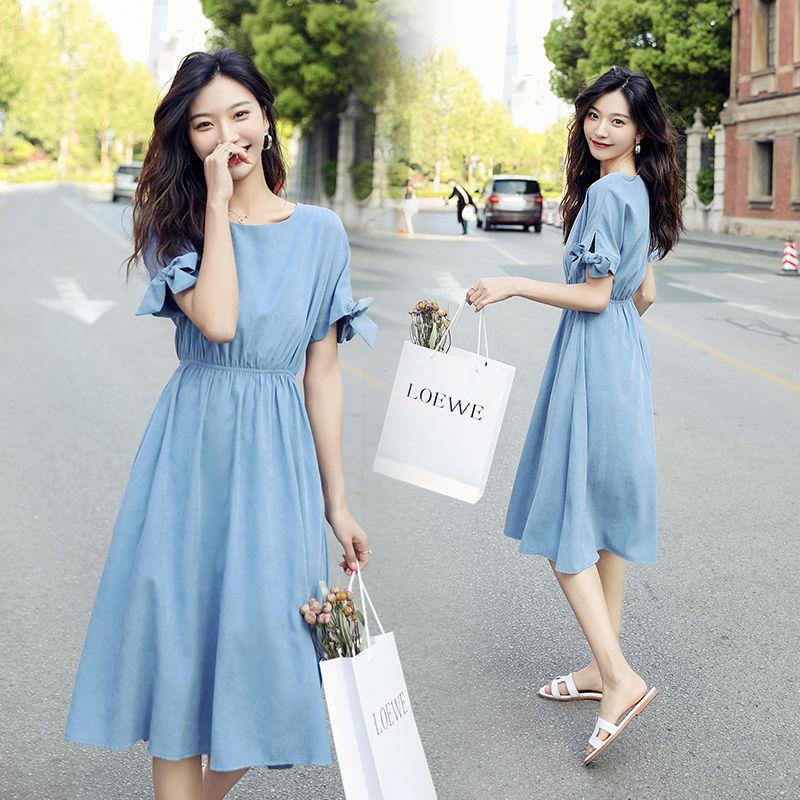 很仙的法国小众桔梗裙女2020新款清新韩版学生显瘦连衣裙文艺女夏图片