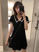 小黑裙娃娃领连衣裙女2020年新款夏天方领气质裙子显瘦收腰小个子