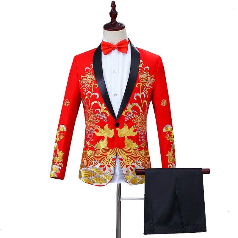 新品中国风男士礼服演出西服年年有鱼刺绣套装新郎主持人歌手中式
