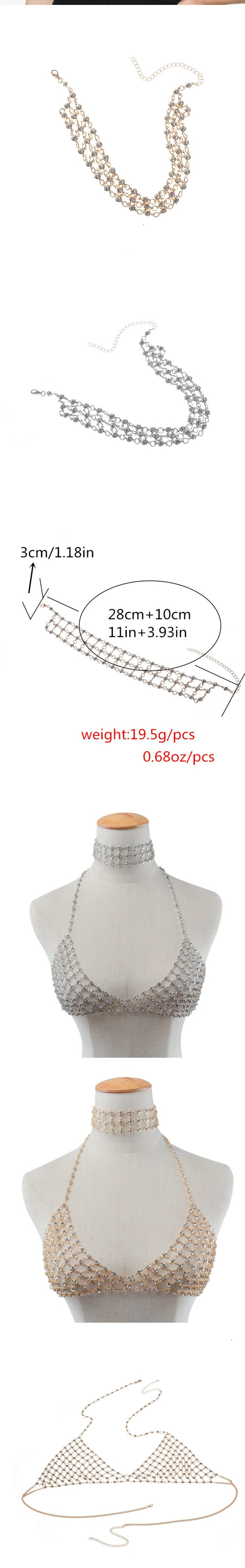 Trendsetter cross-border performance stage accessories popular new elements sexy exaggeration full drill multi-layer neck chain chest chain set