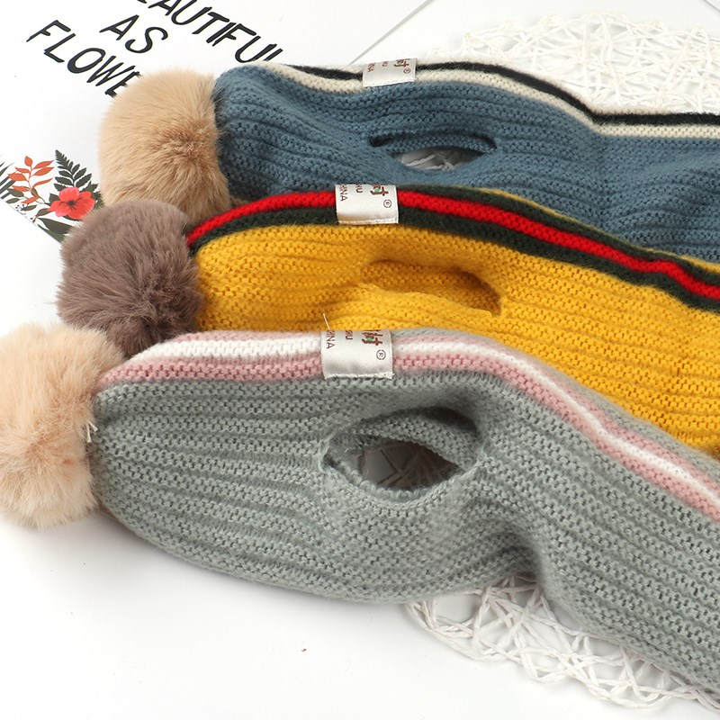 Korean version baby autumn and Winter Scarf mens and womens baby soft neck childrens new striped color ball trend