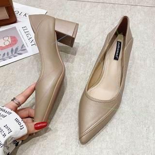 粗跟单鞋女高跟鞋秋款尖头软皮软底舒适工作鞋气质真皮通勤女鞋秋