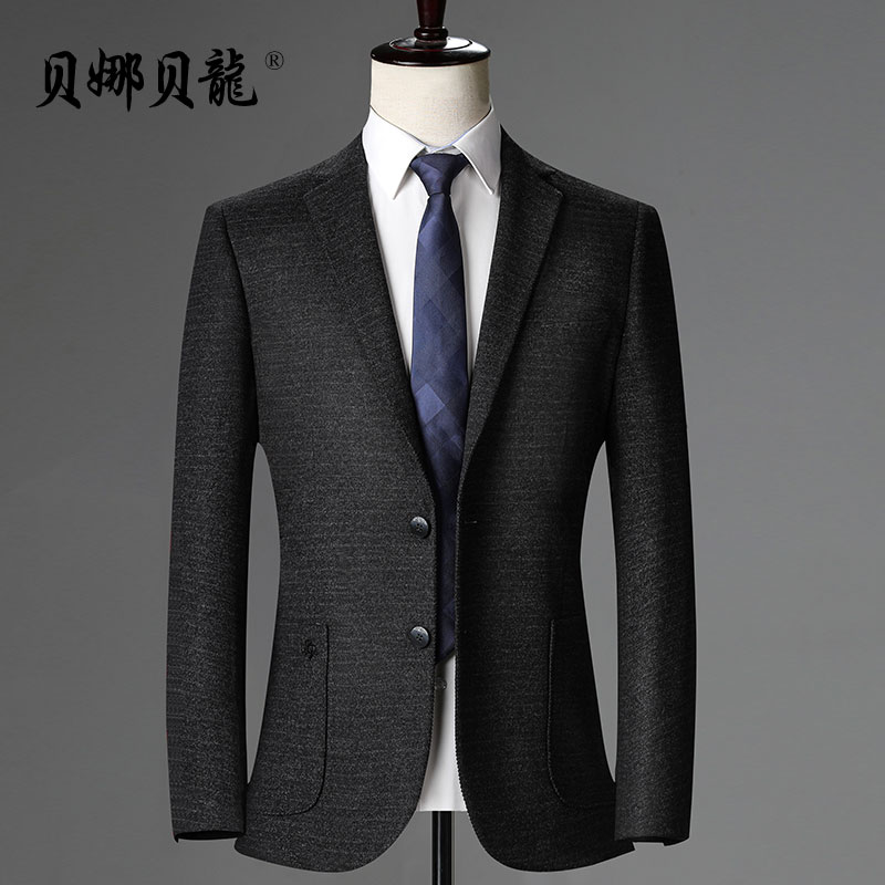 Middle aged mens suit coat business leisure suit top middle aged and old mens loose fitting father elastic single suit