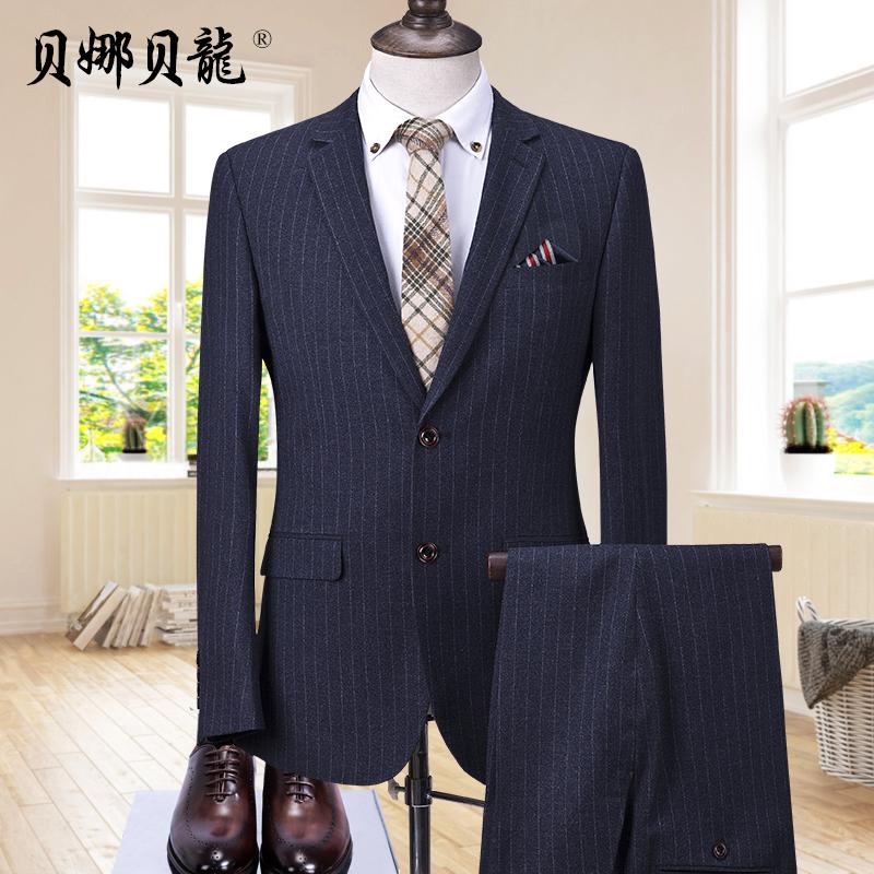 Suit suit mens middle-aged business casual suit mens Korean stripe slim wedding party fathers dress