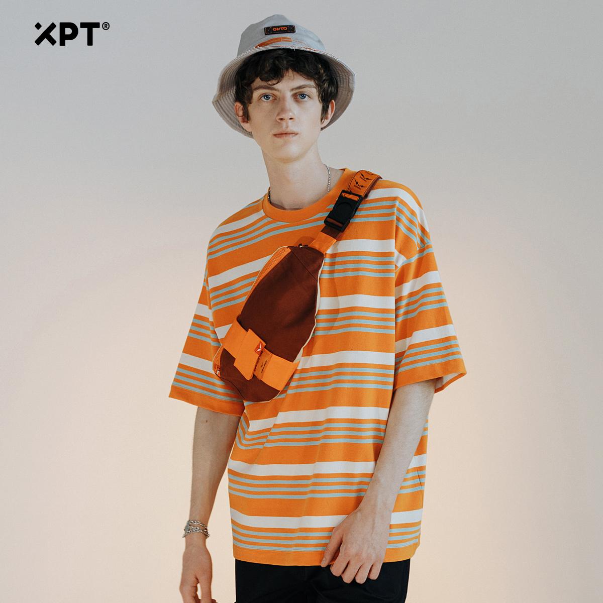 XPT情侣短袖t恤男港风潮牌个性时尚宽松oversize半袖条纹体恤ins